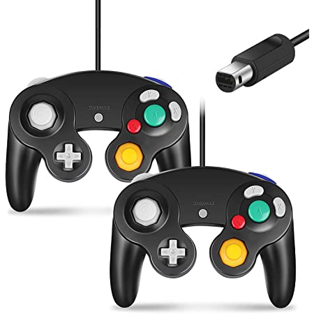 Cipon Controller Replacement for Gamecube Controller,Wired Controller Compatible with Nintendo Gamecube Controller for Wii 2 Pack Black