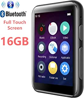 MP3 Player Bluetooth4.2 with 2.5 inch LCD Full Touch Screen 16GB HiFi Lossless Music Player Built-in Speaker Supports FM, Video, E-Book, Expandable SD Card up to 128GB (Black)