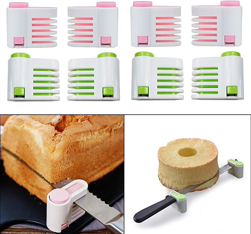 VinBee 8 PACK 5 Layers DIY Cake Bread Cutter Leveler Slicer Adjustable Cutting Fixator Guide Tools DIY Cake Decorating Tools For Kitchen Baking Accessory