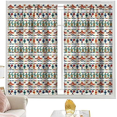 Cortina opaca con bolsillo para barra de cortina mexicana, bordes culturales nativos de 100 x 200 cm