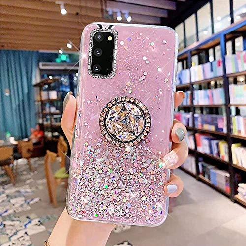 Coque pour Samsung Galaxy S20 Coque Transparent Glitter avec Support Bague,étoilé Bling Paillettes Motif Silicone Gel TPU Housse de Protection Ultra Mince Clair Souple Case pour Galaxy S20,Rose
