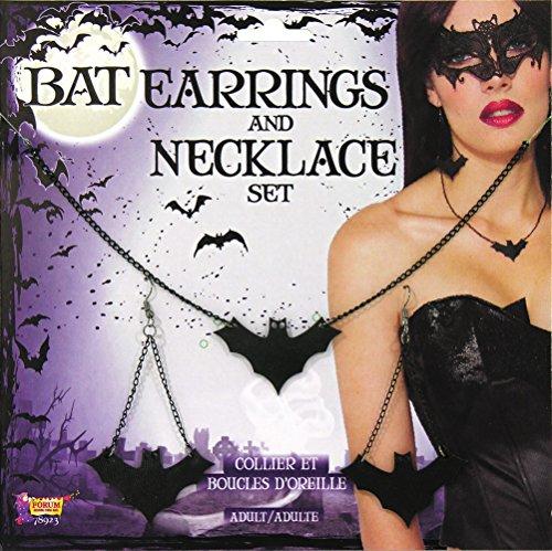 Forum Novelties Bristol Novelties X78923 Fledermaus Ohrringe und Halskette, schwarz, Einheitsgröße