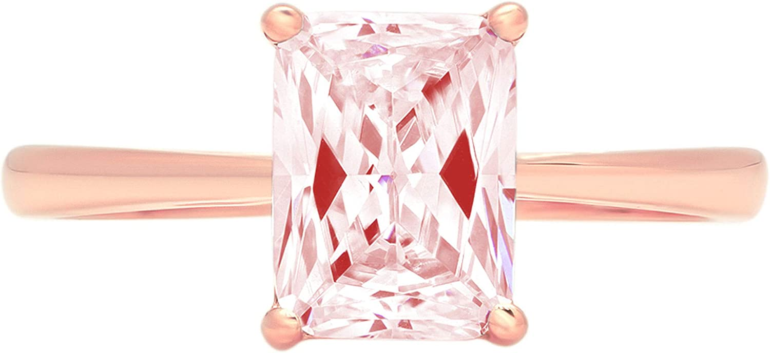 2.0 ct Brilliant Emerald Cut Solitaire Pink Simulated Diamond CZ Ideal VVS1 D 4-Prong Engagement Wedding Bridal Promise Anniversary Ring Solid Real 14k Rose Gold for Women