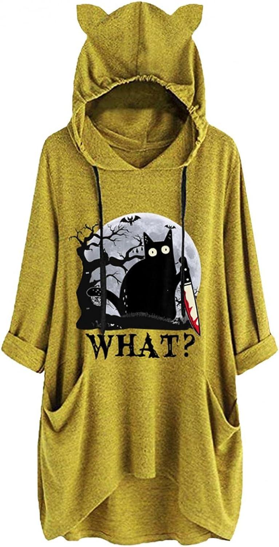 Hooded Fashionable Sweatshirt Womens Half Sleeve Top C Pullover Fees free Tunic