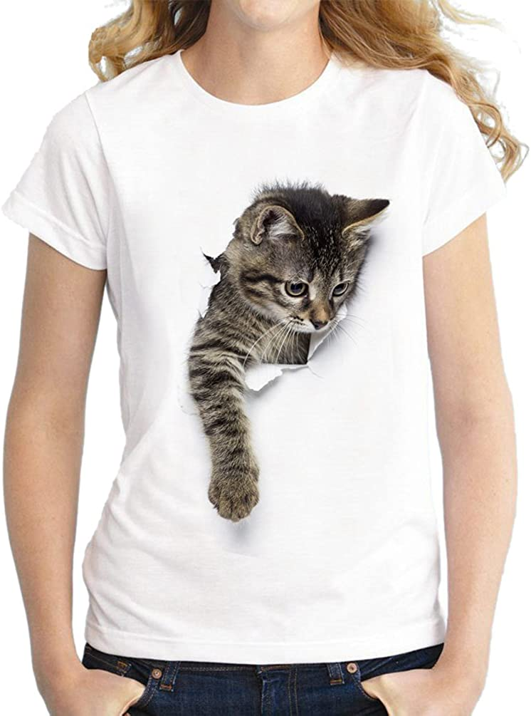 Yuncai Carino Gatto Stampato Donna Maglietta Moda Semplice Manica Corta T-Shirt Cime Taglia Larga