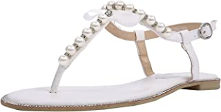 Women's Pearl T-Strap Bridal White Flat Sandals Beach Wedding Shoes
