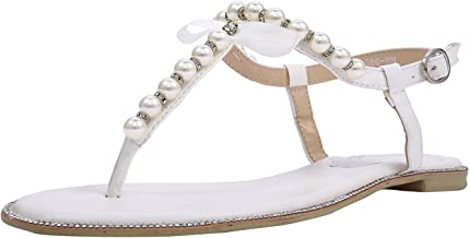 SheSole Women's Pearl T-Strap Bridal White Flat Sandals Beach Wedding Shoes