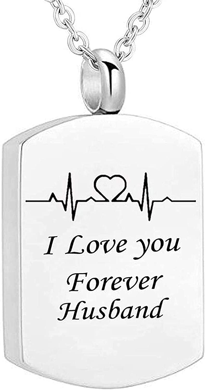 Urn Necklace for Ashes Cremation Urn Necklace The soot Jewelry Ur Bone Pendant ECG Engraved I Will Always Love You.Ash Necklace with Funnel Filling Kit 60CM-Husband