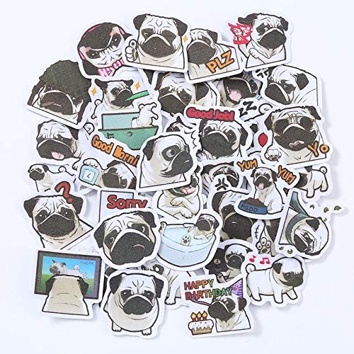 Cute Pug Emoji Sticker Decal For Children'S Notebook Backpack Laptop Suitcase Children'S Toy Sticker 40Pcs