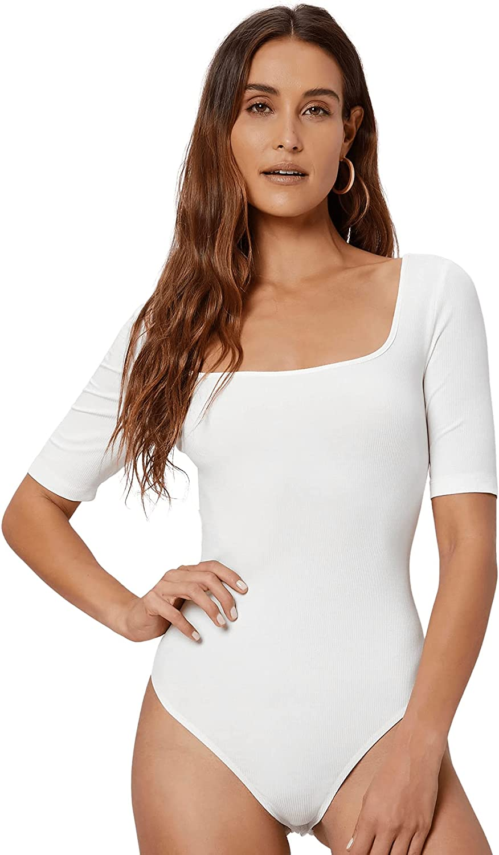 Verdusa Women's Basic Square Neck Short Sleeve Bodycon Tee Leotard Bodysuit