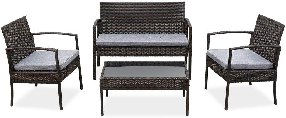 4 激安通販 PCS Outdoor Patio Rattan Wicker Sofa Table Furniture 25%OFF Set with
