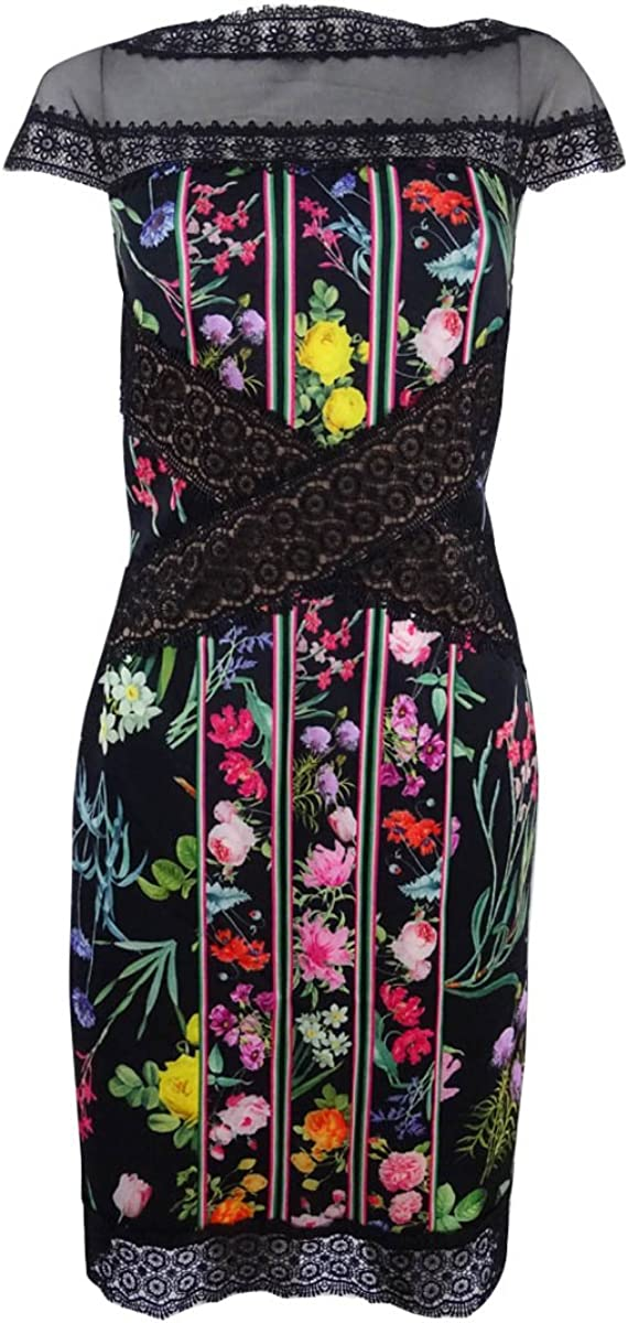 Tadashi Shoji Womens Floral Lace Cap Sleeves Formal Dress Gown BHFO 9178