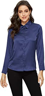 Escalier Women's Satin Silky Blouse Solid Long Sleeve Button Down Formal Work Shirt Navy M
