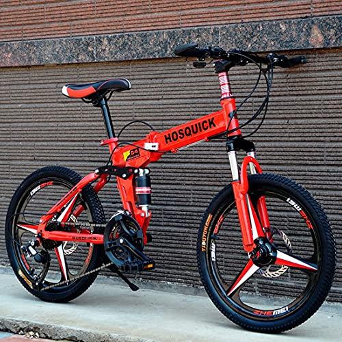 Bicicletas Plegables Bicicleta Plegable 20 Pulgadas 27 Velocidades Bicicleta Plegable con Doble Amortiguación para IR Al Trabajo Montando Una Bicicleta De Montaña Ligera para Cross-Country Bicicleta