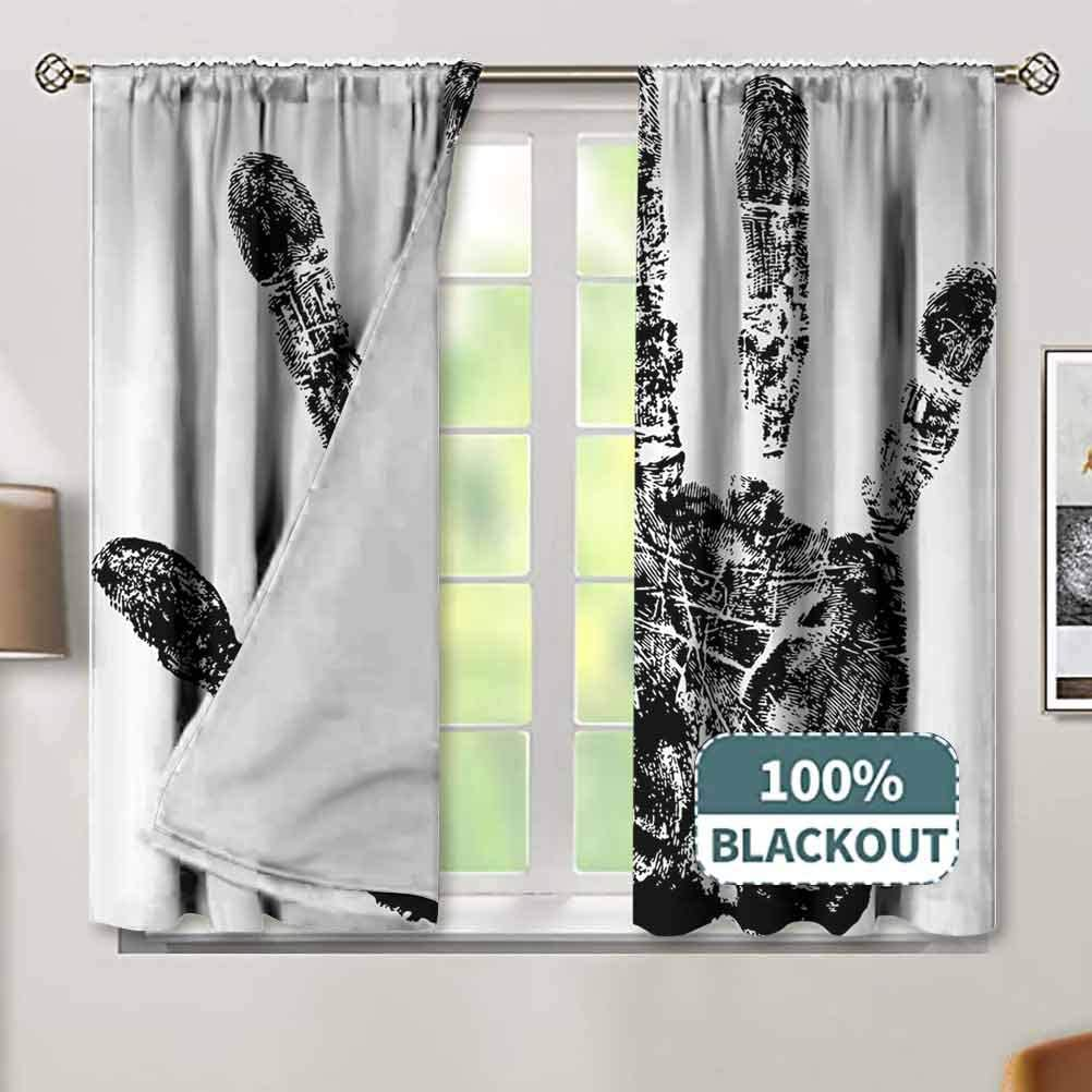 Modern Blackout Drapes Hand Max 83% OFF Print with Grunge M Fingers in Max 81% OFF Human