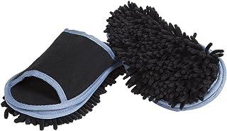"""Slipper Genie Zapatillas de microfibra para hombre para limpieza de piso, zapatillas de casa para hombres, limpiador multisuperficie, herramienta de limpieza de polvo, color negro, para hombre de tamaño 9 – 11 – """"Slip Em On y ellos harán la limpieza para ti., Negro, 9-11, 1"""