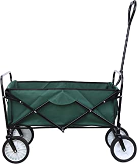 femor Collapsible Folding Outdoor Utility Wagon, Heavy Duty Garden Cart for Shopping Beach Outdoors (Dark Green)