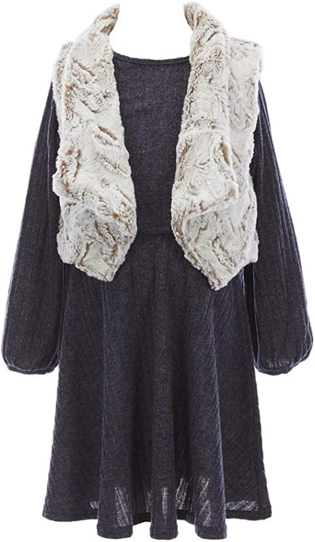 Rare Editions Girls Size 7-16 Charcoal Navy Sweater Dress Ivory Fur Vest Set