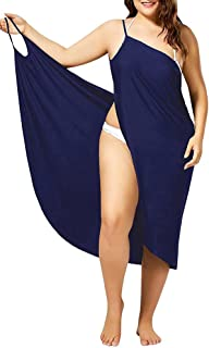 Womens Cover Ups Beach Spaghetti Strap Sarongs Beach Backless Wrap Midi Dresses - Blue - 8
