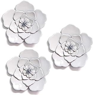 Stratton Home Decor White Metal Wall Flowers (Set of 3)