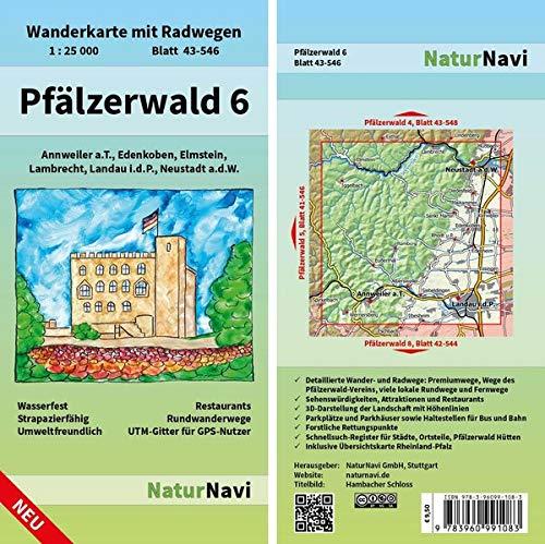 Pfälzerwald 6: Wanderkarte mit Radwegen, Blatt 43-546, 1 : 25 000, Annweiler a.T., Edenkoben, Elmstein, Lambrecht, Landau i.d.P., Neustadt a.d.W.: ... (NaturNavi Wanderkarte mit Radwegen 1:25 000)