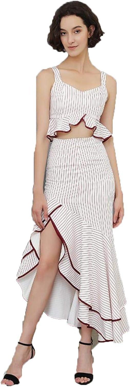 IVgxKVdN Women Sexy Two Piece Sleeveless Tops with Ruffle High Waist Skirts