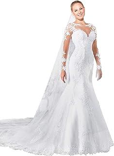 JoyVany Women 2019 Long Sleeve Mermaid Wedding Dress Sexy Back Lace Wedding  Gowns JV761 f157c0859d09