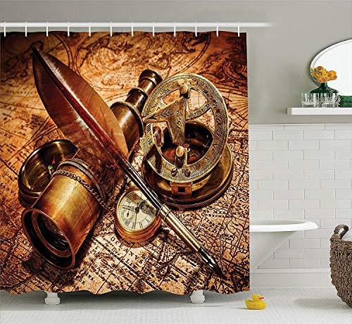 Antike Kompass-Gans-Federkiel Spyglass eine Taschenuhr, die auf einer alten Karte liegt Druck breiter orange-brauner Polyester-Stoff-Duschvorhang setzt Haken Wasserdichter Mehltau Badezimmer-Dekor