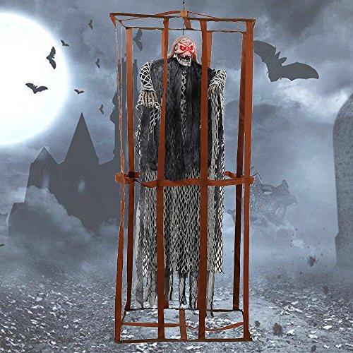 Enjoygoeu Halloween Deko Geist Horror Figuren 90cm Käfig Gefangener Skelett Grusel Hängend Horror Dekoration Prop mit leuchtenden Augen Sound Control (Grau)