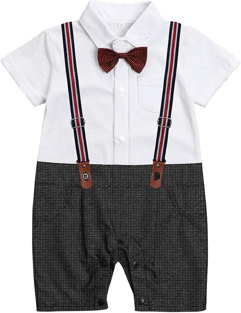 Baby Boy Suit Party Gentlemen's Dress Short Sleeve Ribbon Suit