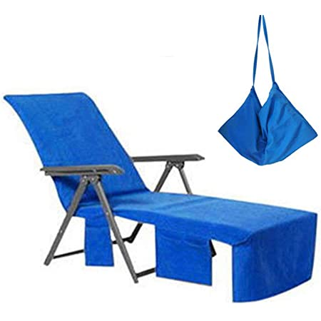 Du/šial Multifunction Lounge Chair Beach Towel with Pockets for Holidays Sunbathing