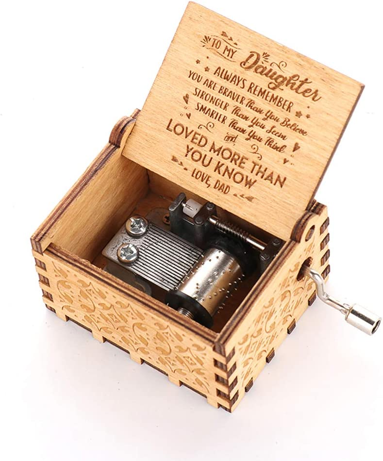 Mechanism Antique Carved Musical Box Best Gift Decor For Kids,Friends Dad daughter Mom Asdomo Wooden Hand Crank Loved more than you know-love dad Theme Music Box