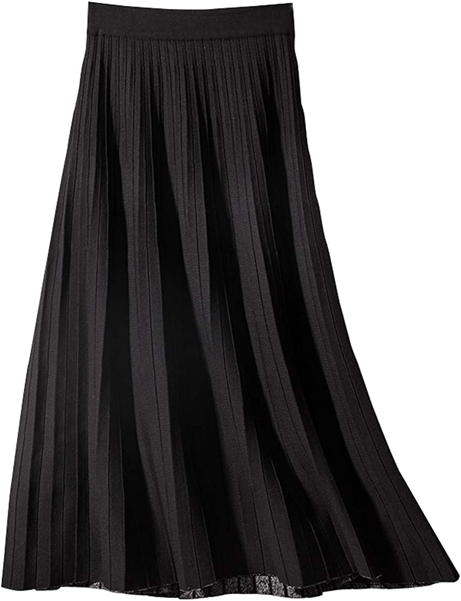 CHARTOU Women's Winter Reversible Stretchy Waist Knitted A Line Pleated Midi Skirt