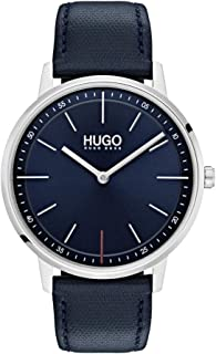 Hugo Men's #Exist - Ultra Slim Quartz Stainless Steel and Leather Strap Casual Watch, Blue, 1520008