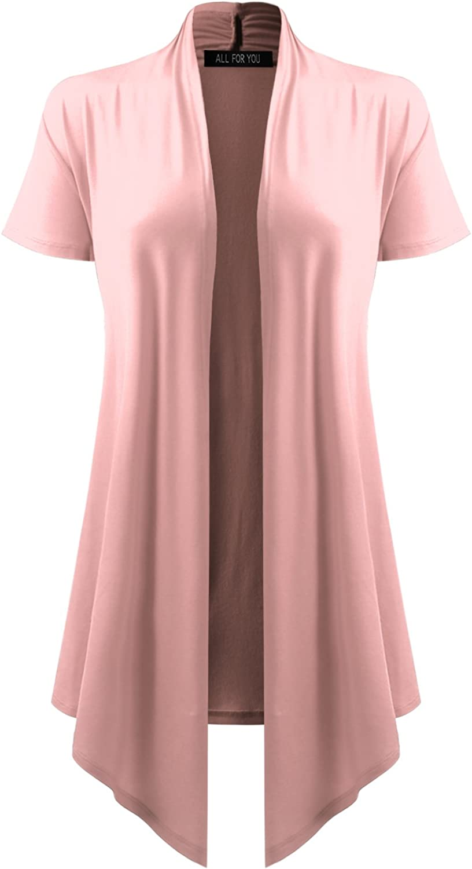 Women's Open Front Short Sleeve Cardigan (S-3XL)