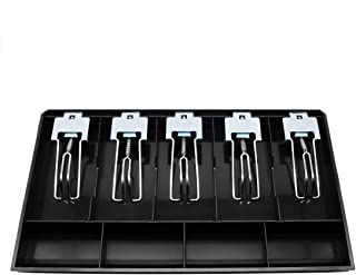 Cash Register Drawer Insert Tray 5 Bill/4 Coin Compartments with Metal Clip for Money Storage, Black