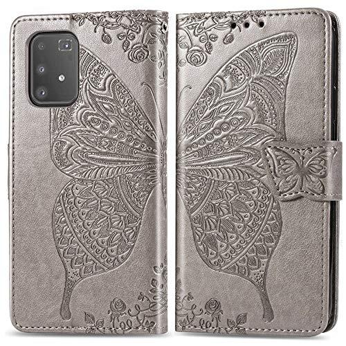 Happy-L Caso Samsung Galaxy A91, Estuche de Cuero de Relieve de Mariposa, Funda de Billetera de Estilo de Libros con Ranuras y Soporte de Tarjeta y Cierre magnético (Color : Gray)