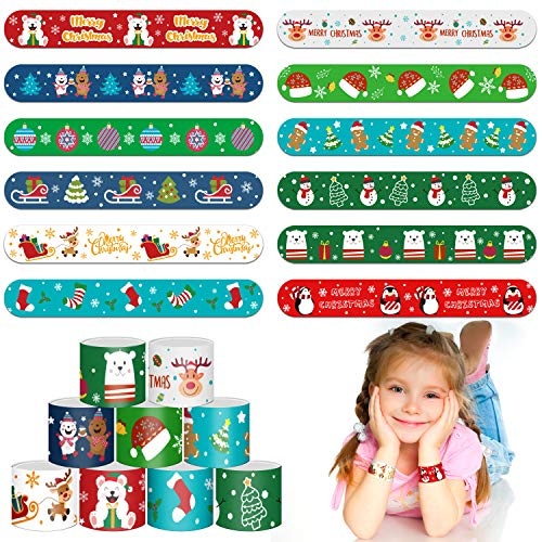 LOKIPA Christmas Slap Bracelets,48 Pieces Kids Slap Snap Band Wristband for for Xmas Party Bag Filler