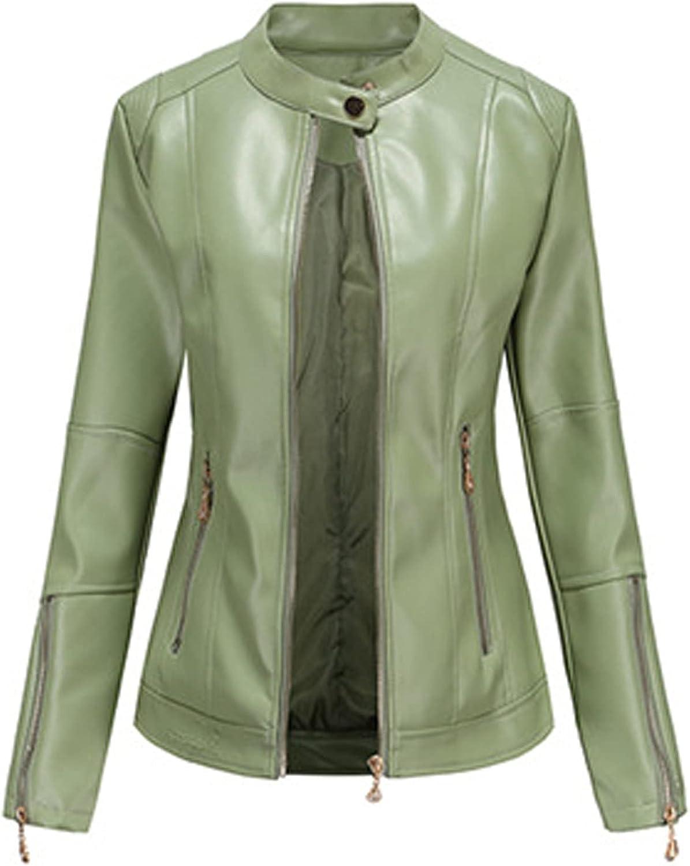 raillery Women's Short Slim Slant Zip Faux Leather Moto Jacket Multiple Colors Stand-Up Collar Coat Jacket