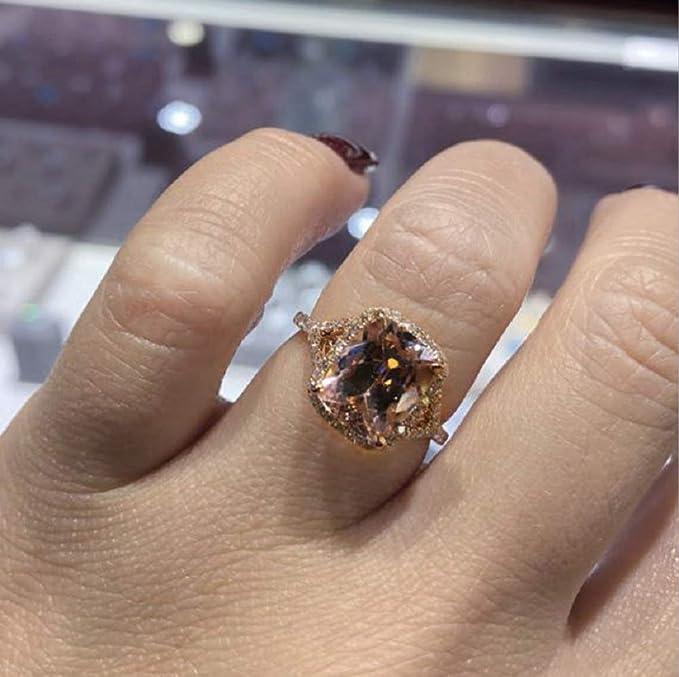 Engagement ring 14k pink gold rose natural white zircon wedding girl womens size 5 6 7 8 9 US
