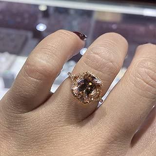 Duan Women's 18K Rose Gold Filled Morganite Pink Gemstone Cut 5ct Cubic Zirconia Ring Promise Aura Single Stone Engagement Champagne Ring Size 6-10 (US Code 7)