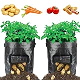 HYRIXDIRECT 2 Pack 10 Gallon Black Grow Bags Portable Potato Growing Bag Planter Bags Planting Pouch with Handles Access Flap for Carrot Onion Vegetables