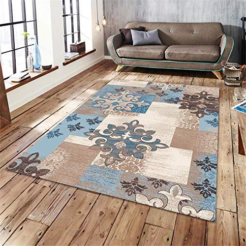RUGMYW Alfombra habitación Matrimonio Lámina Europea Azul marrón Beige alfombras de Entrada de casa 80X160cm