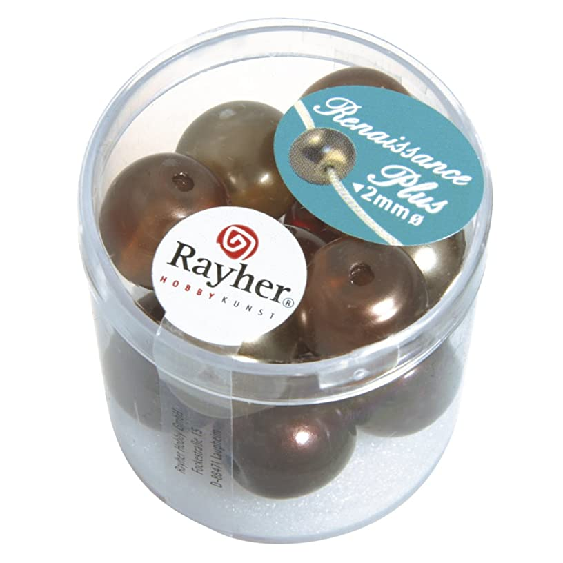 RAYHER 14479000?(Semi-Transparent Renaissance Glass Wax Beads with Large Hole 14?mm Box of 12, Brown Mix