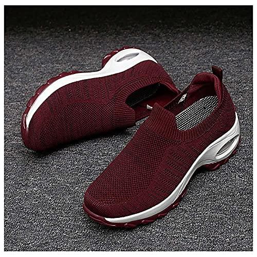 XDlyou Zapatos deportivos para mujer, con amortiguación de aire, zapatos deportivos de malla, transpirables, cómodos, con suela gruesa, adecuados para fitness al aire libre, color rojo