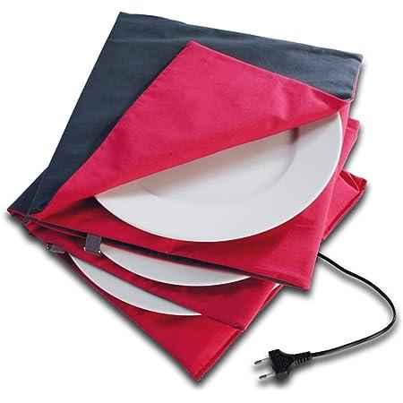 Solis Chauffe Plat Maxi Gourmet 865 Ø 32cm - Chauffe Platt Electrique - Arrêt automatique après 5 heures - Double isolation - Pas de colorants nocifs - Lavable - Régulateur de chaleur automatique - Rouge / Anthracite