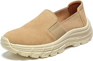 HAOSHIDUO Slip On Sneakers for Women Comfort Suede Platform Walking Shoes Wide Low Top Wedge Shoes