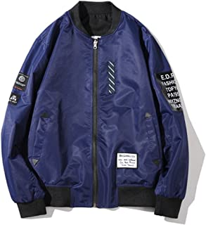 Mens Pilot Jacket Two Sides Wear Letter Printed Thin Bomber Windbreaker Jacket