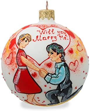 BestPysanky Will You Marry Me Engagement Glass Ball Christmas Ornament 3.25 Inches