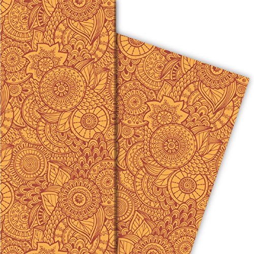 Kartenkaufrausch Floral Design Geschenkpapier Set voor leuke geschenkverpakkingen, oranje rood 4 vellen, 32x47,5 cm, decoratief papier, inpakpapier om te knutselen